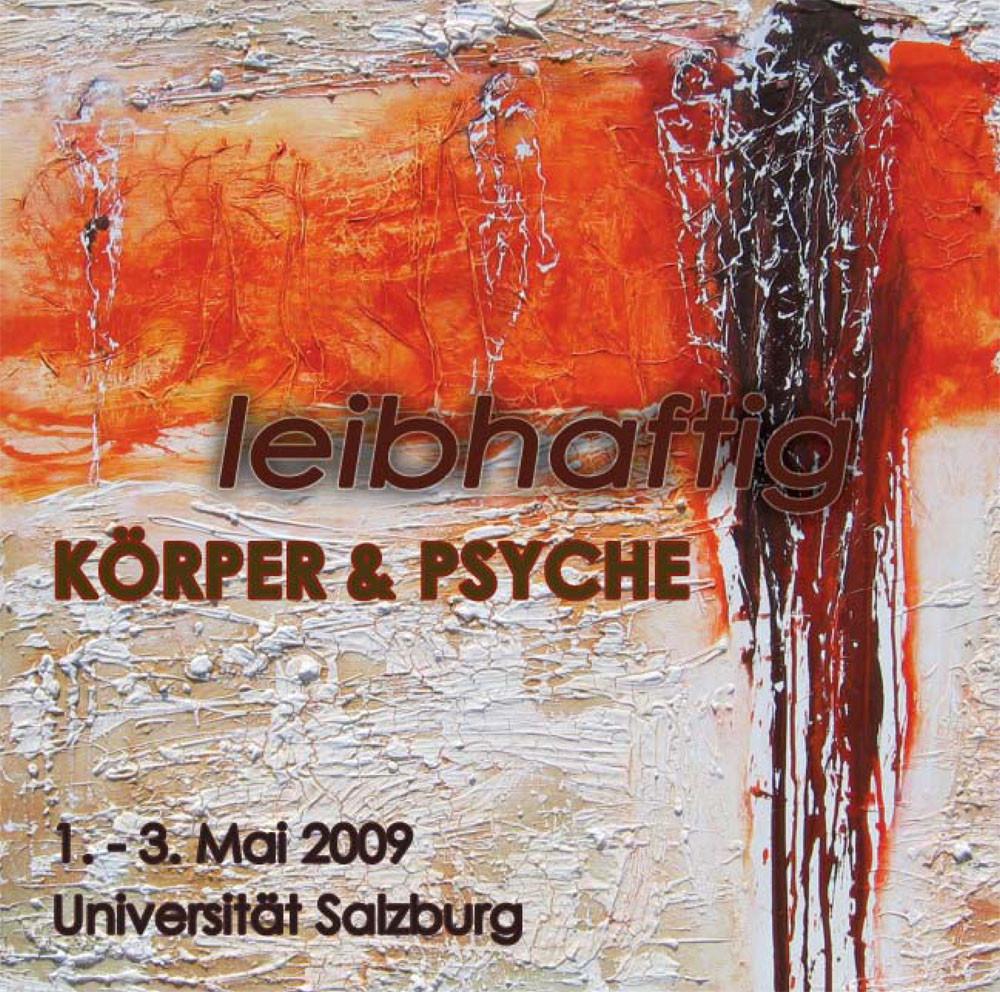 Plakat für die Ausstellung Leibhaftig in der großen Aula der Universität Salburg
