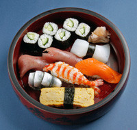 two tuna、squid、gizzard shad、shrimp、salmon、egg