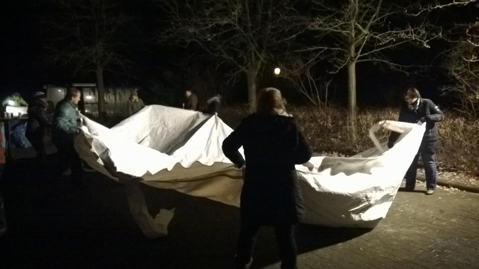 Zelt zusammenlegen und ab ins geheizte Vereinsheim