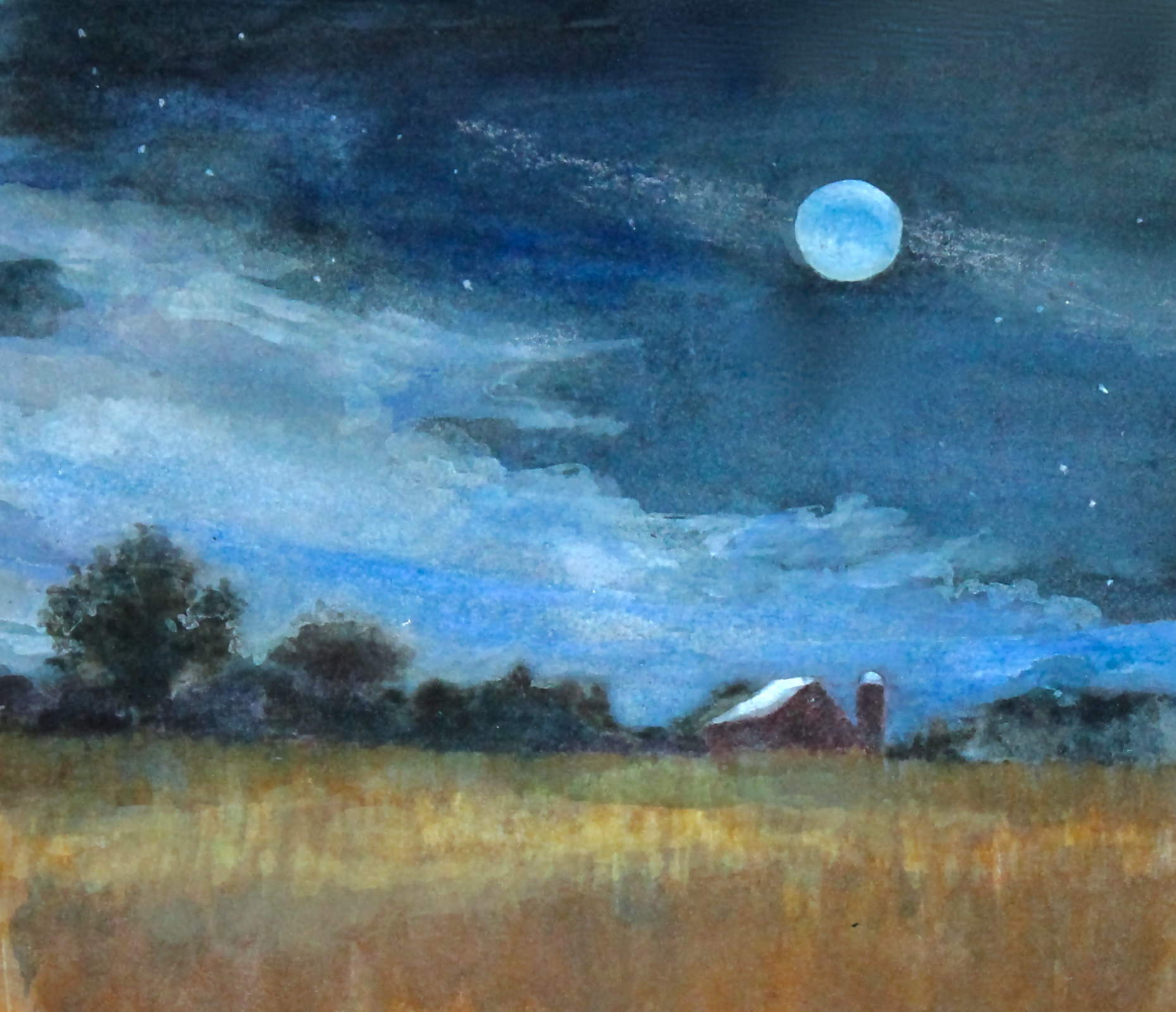"Moonlit Fields- watercolor/mixed media- 7""x5"""