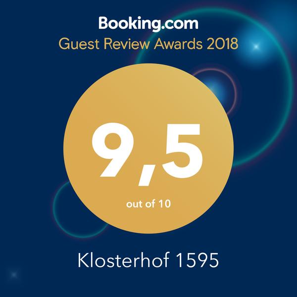 booking.com Guest Review Reward 2018 für Klosterhof1595 Ferienwohnungen