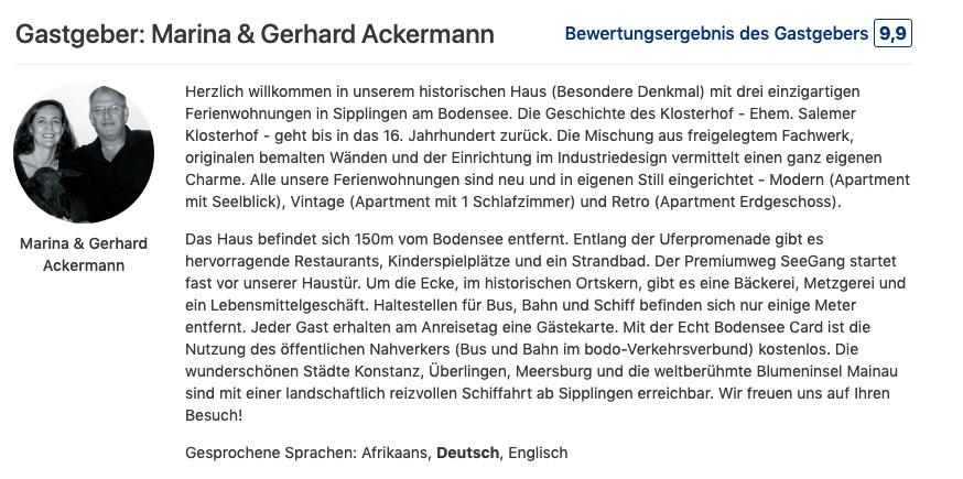 Gastgeberbewertung Marina & Gerhard Ackermann Ferienwohnungen Klosterhof1595 Sipplingen Bodensee