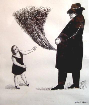 Roland Topor: *Sortie de l'école* (Das Pfauenrad), 1983, Feder, Tusche, 32 x 24 cm