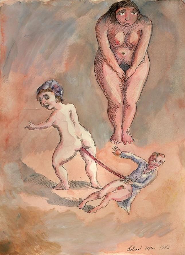 Roland Topor: *Der schlechte Kunde* (Le mauvais client), 1986, Mischtechnik, 32 x 24 cm