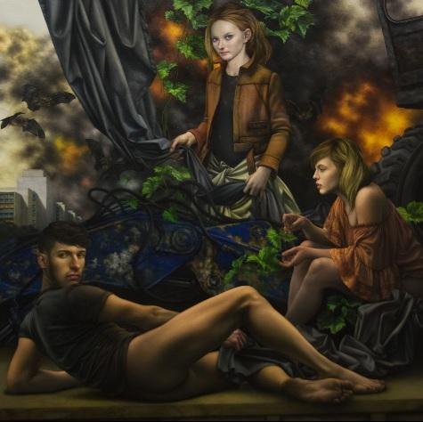 Andreas Leißner: *Verhüllung,*  2017/2018, Öl/Hartfaserplatte, 170 x 170 cm