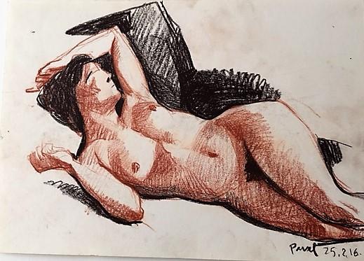 Pavel Feinstein: *Ohne Titel*, 25.02.2016, farbige Zeichnung/Papier, 21 x 30 cm