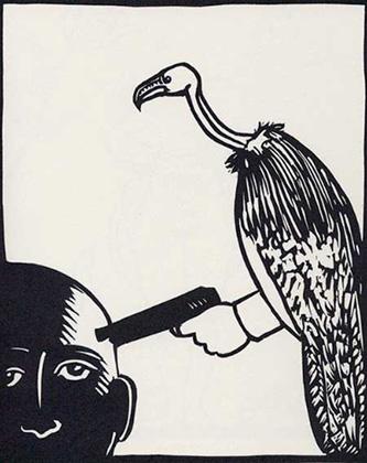 Roland Topor: *Cap de Bonne Espérance* (Kap der Guten Hoffnung), 1980, Linolschnitt, 47 x 38 cm
