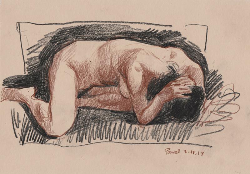 Pavel Feinstein: *Risunki 7.1.18*, 2018, Bunstift/Papier, 21 x 29,7 cm