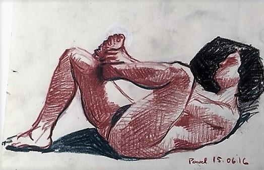 Pavel Feinstein: *Ohne Titel*, 15.06.2016, farbige Zeichnung/Papier, 21 x 30 cm