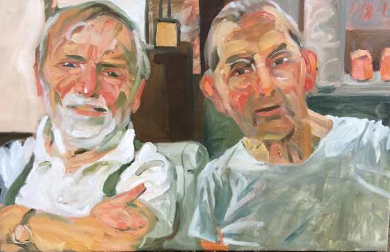 Johannes Grützke: *Der Künstler und sein Galerist*, 2015, Öl/Leinwand, 55 x 85 cm