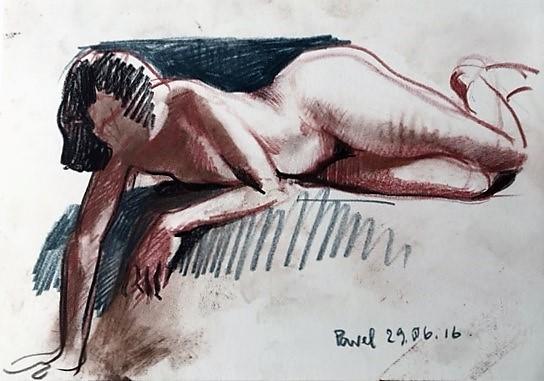 Pavel Feinstein: *Ohne Titel*, 29.06.2016, farbige Zeichnung/Papier, 21 x 30 cm