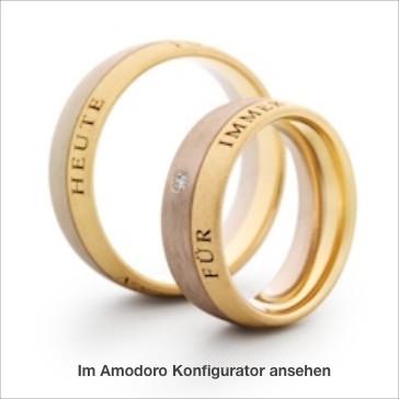 Eheringe mit verschiedene Farben: Weißgold und Roségold 585 mit Glanzrille ovaler Querschnitt, 6,5 mm x 2 mm, mit Außengravur nach Ihren Wünschen