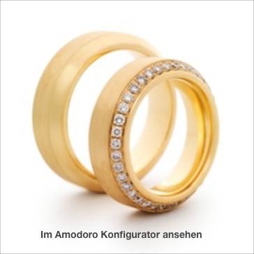 einmalige Symbole Ihrer Liebe: Roségold 750, mit Brillanten im Damenring, umlaufend im Verschnitt gefasst.