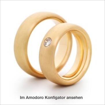 traditionelle Eheringe, in Gelbgold 585, oval, sehr sehr bequem zu tragen, mit einem Brillanten 0,15 ct.