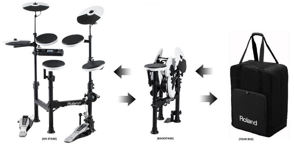TD4 - modul mit 125 Instrumente und 25 Drum-Kits. Schnelles Einstellen der Tonhöhe und der Dämpfung für Kick, Snare und Toms. Coach Mode für Warm Ups / Tempo Check / Quick Rec-Funktion. Aux in für audio player.