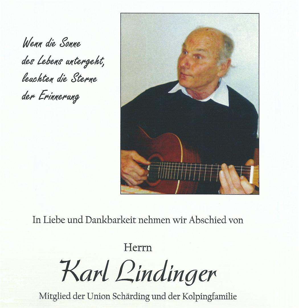 Abschied von unserem langjährigen und hochgeschätzten Mitglied Herrn Karl Lindinger