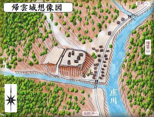 ひょっとしたら戦国時代の帰雲城はこんなお城だったんじゃ?余湖くんのホームページの作者、余湖さんが鳥瞰図を描いてくれました