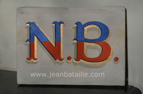Lettres peintes en renaissance attachée sur toile de lin
