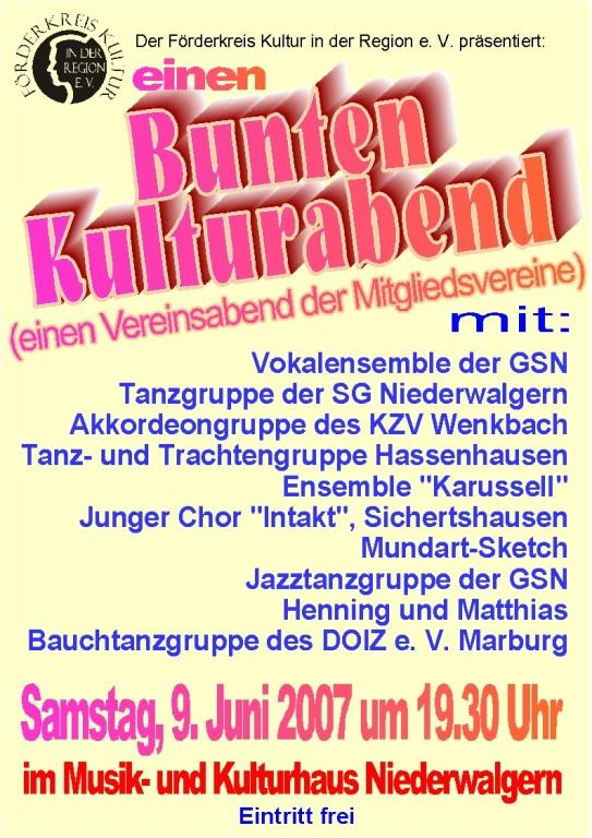 Bunter Kulturabend am 9. Juni 2007