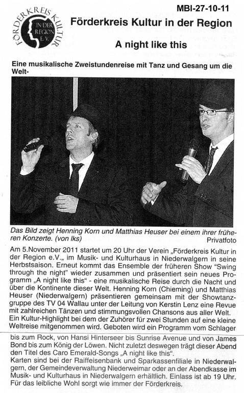 Mitteilunsblatt der Gemeinde Weimar vom 27. Oktober 2011