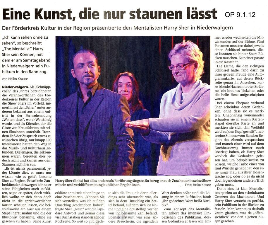 Oberhessische Presse vom 9. Januar 2012