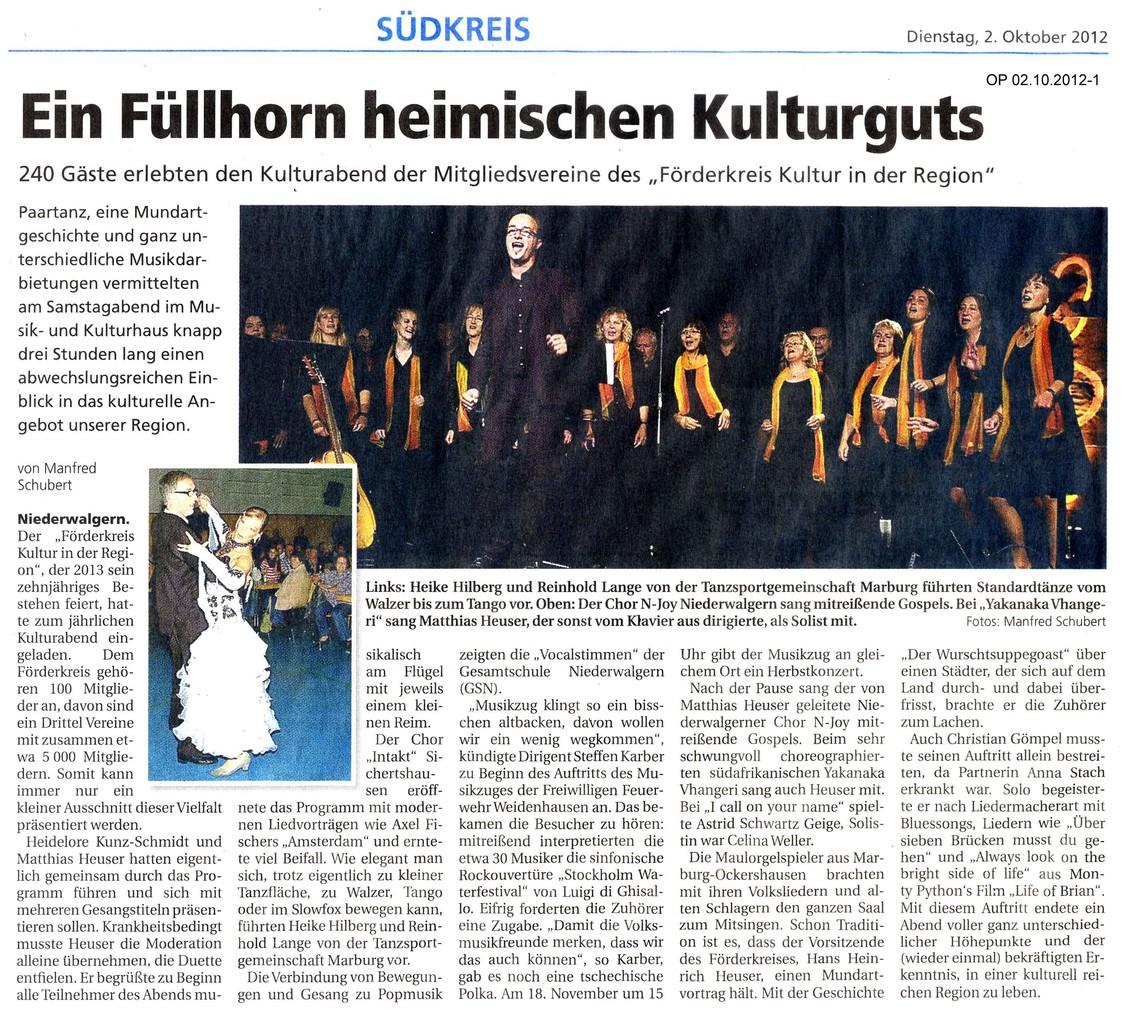Oberhessische Presse vom 2. Oktober 2012, Teil 1