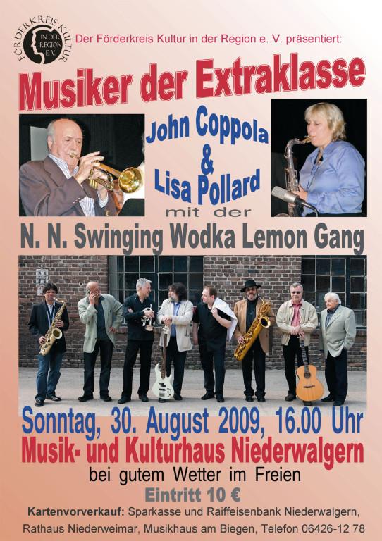 """""""Musiker der Extraklasse"""" John Coppola & Lisa Pollard mit der Swinging Wodka Lemon Gang"""