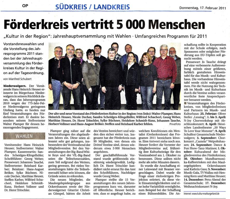 Oberhessische Presse vom 17. Februar 2011