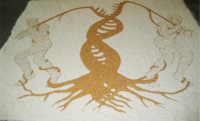 Errare humanum est, 2011. Rice, corn and white beans. 5x 4m