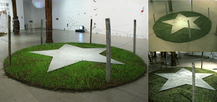 For Sale-ism, 2006. Grass, cement and poles. Variable dimensions