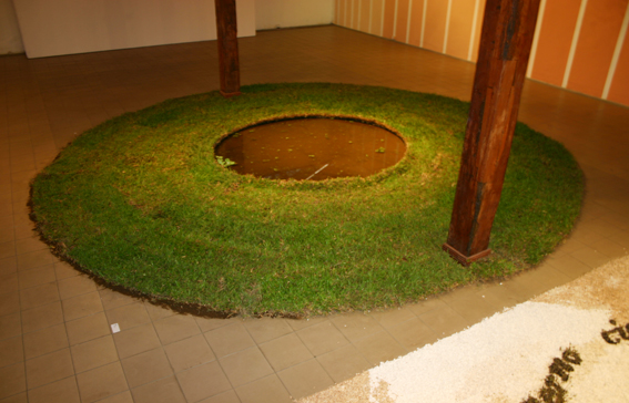 Mirror, 2008. Grass and water. 4.5 m diameter