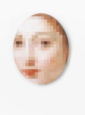 Anna Herrgott, Naked, Mosaik aus bemalten Holzplättchen