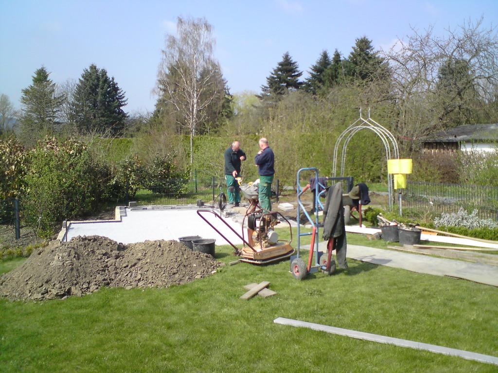 Das Fundament für den Pavilion entsteht.