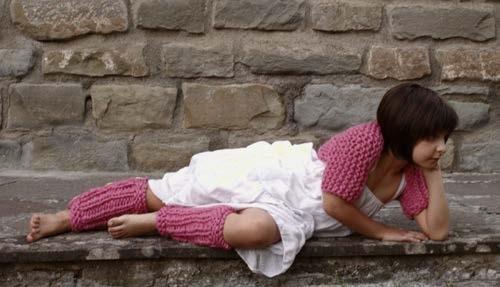 Little dancer vestje en beenwarmers. Garen: Bulky van Borgo de Pazzi