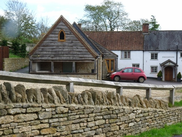 Stone walling, as well as the extension to the pub using quarry stone