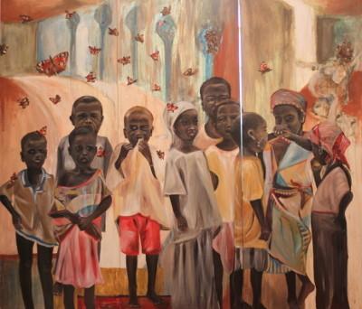Triptychon - revisited, 2015, Öl, Pigment und Collage auf Leinwand, 190 cm x 210 cm (jedes der drei Teile misst 190 cm x 70 cm)