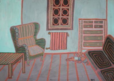 Wohnzimmer - Öl auf Karton, 52 cm x 37 cm