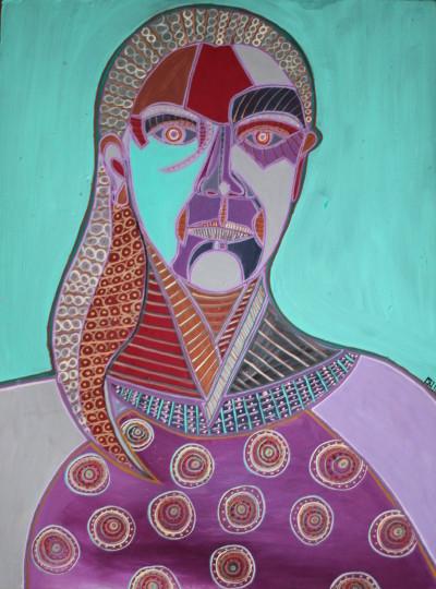 Selbstportrait in Türkis, Öl auf Karton, 42 cm x 63 cm