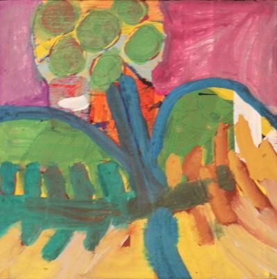 Secret Paintings 12/29: OP-Licht, Mischtechnik auf Holz, 30 x 30 cm
