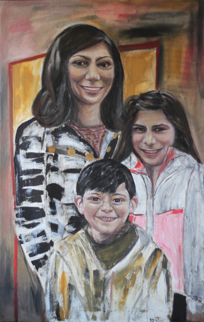 Theresa, George und Talin, 2015, Öl auf Leinwand, 110 cm x 70 cm