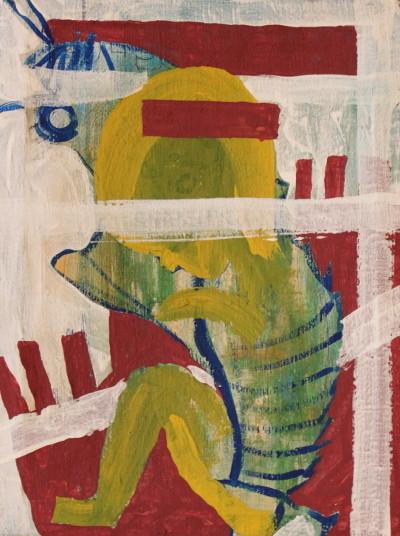 Secret Paintings 19/29: Puppe, Mischtechnik auf Leinwand, 28 x 38 cm