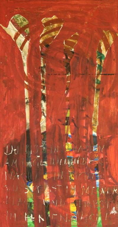 """Secret Paintings 23/29: Calla, Mischtechnik auf Spanplatte, 27 x 51 cm """"Du bist ein Schatten am Tage und in der Nacht ein Licht; Du lebst in meiner Klage und stirbst im Herzen nicht."""" Friedrich Rückert, Kindertodtenlieder"""