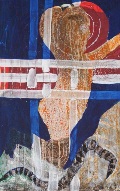 Secret Paintings 3/29: Wurm, Mischtechnik auf Spanplatte, 36 x 56 cm