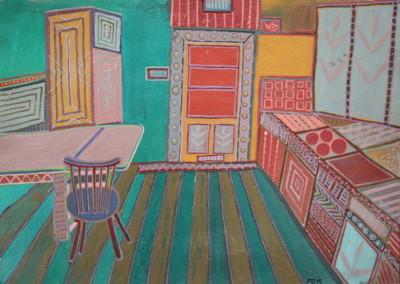 Küche, Öl auf Karton, 52 cm x 37 cm