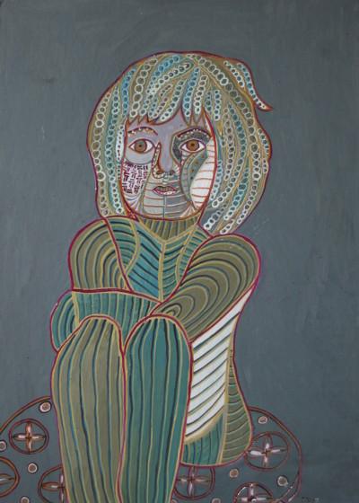 Prinzessin Odetta, 2015, Öl auf Karton, 42 cm x 58 cm