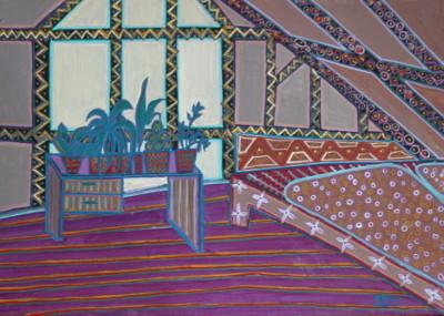 Schlafzimmer, Öl auf Karton, 30 cm x 42 cm