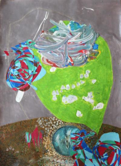 Dracarys - Mischtechnik und Collage auf Leinwand; 45 cm x 60 cm