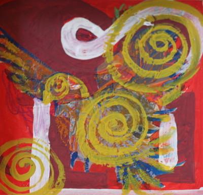 Secret Paintings 9/29: Taube, Mischtechnik auf Holz, 27 x 27 cm