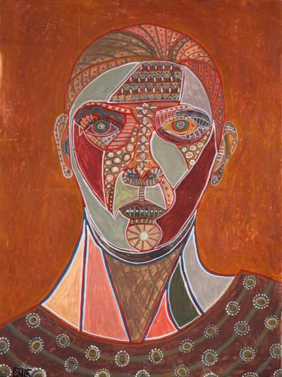 Selbstportrait mit brauner Bluse, 2015, Öl auf Leinwand, 35 cm x 47 cm