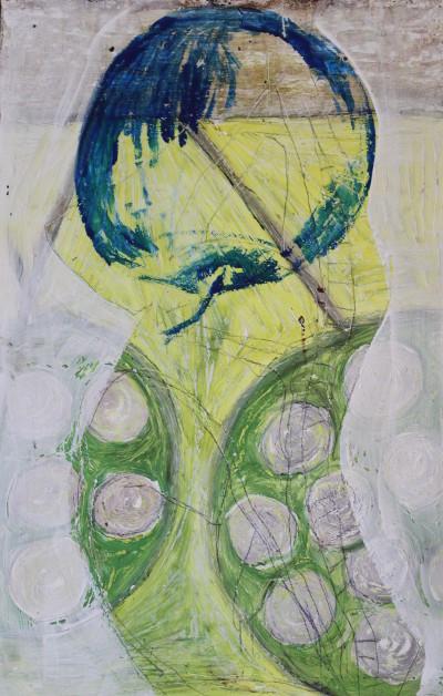Secret Painings 4/29: Apfel, Mischtechnik auf Spanplatte, 36 x 56 cm